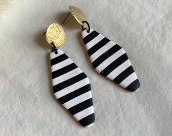 Black and white, women's earrings, girls earrings, cottage core, nautical jewelry, casual statement