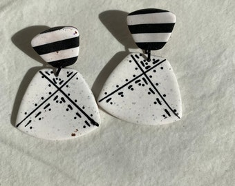 Black and white earrings, women's earrings, girls earrings, casual jewelry, cottage core jewelry, birthday gift, anniversary gift,