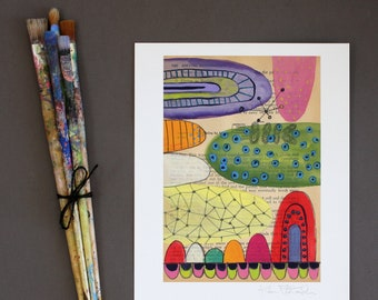 Abstract Wall Art - Fine Art Giclee Print - Colorful Wall Art - Art Reproduction - Contemporary Abstract Print - Mixed Media Print - Mounds