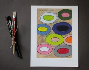 Abstract Wall Art - Fine Art Giclee Print - Contemporary Abstract Print - Geometric Print - Mixed Media Art Reproduction- Floating Circles