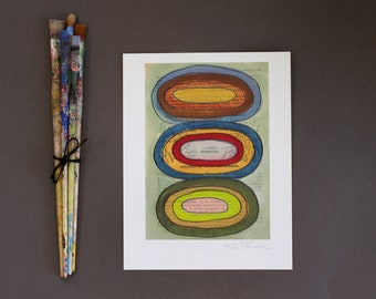 Abstract Wall Art - Fine Art Giclee Print - Contemporary Abstract Print - Geometric Print - Mixed Media Art Reproduction - Stacked Circles