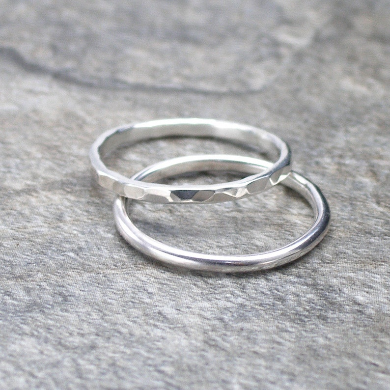 Silver Band Ring Hammered Ring or Plain Ring image 0