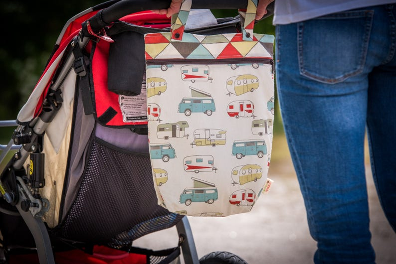 Kitchen or Stroller Wet Bag with Two Top Snap Straps  Vintage Campers Fabric   SEALED SEAMS