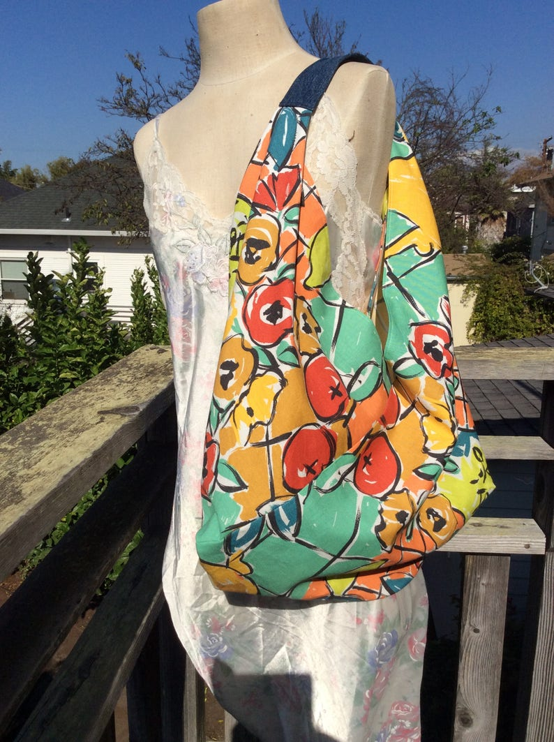 Bright Floral Bento Cotton Shopping Bag Expressionist Print Bags Origami Shopping Bags Bento Bag Carryall