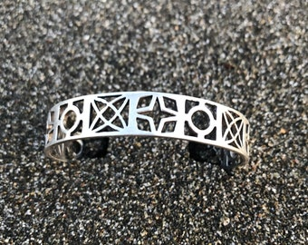 Atomic Space and Stars Cinderblock Cuff: Sterling Silver Made in USA