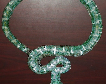 Peyote Stitch Pattern for Emerald Tree Boa Necklace