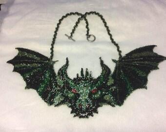 Dragon Bat Beadwoven Necklace