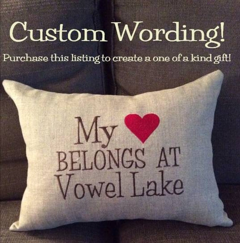 Personalized linen pillow cover with Custom wording and colour image 0
