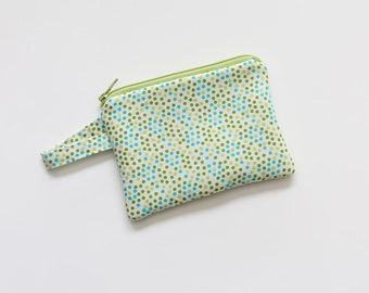 Travel pouch, zipper pouch, pocket wallet, Change purse, cash wallet, mini, jewlery bag, gift card,travel essential oil bag,small green dots