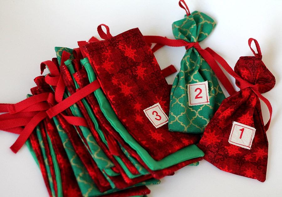 Weihnachten Advent Stoffbeutel Weihnachts-Kalender. | Etsy