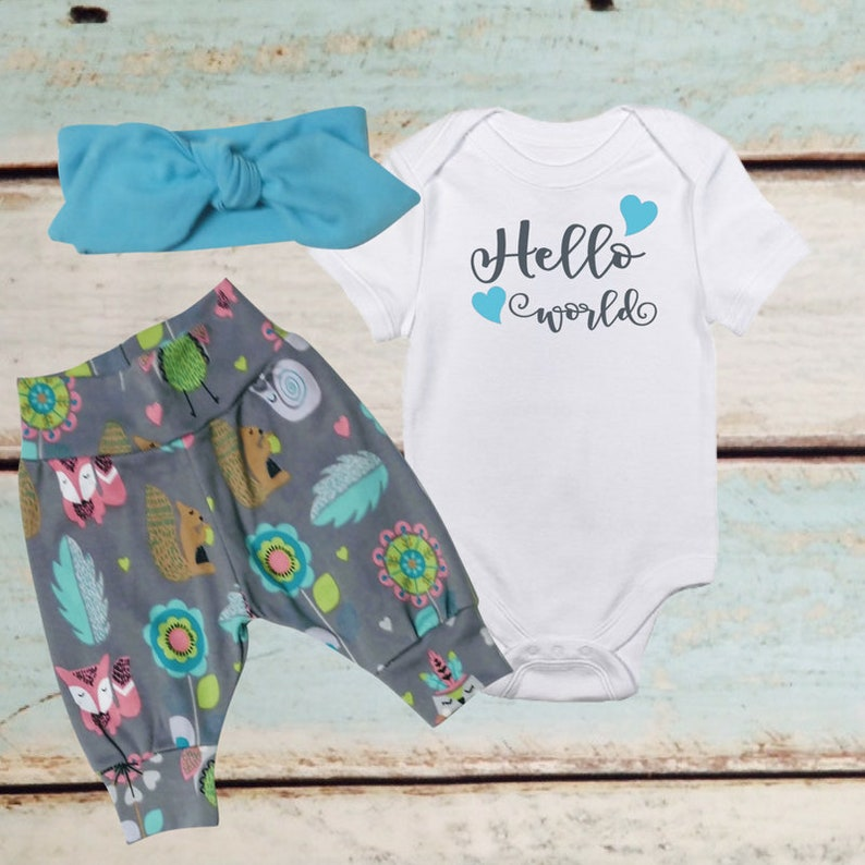 366385a3a7f7 NEWBORN GIRL coming home outfit baby layette set hello