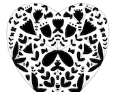 Floral Heart Fine Art Print BW Contemporary Love Modern Minimal Folk Flowers Black and White