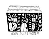 Home Sweet Home Fine Art Print House Floral Contemporary BW Black and White Family Wall Decor