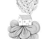 House on a Cloud Fine Art Print Contemporary Line Drawing BW Black and White Whimsical Nursery Wall Decor Floral