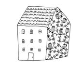 Country Cottage Fine Art Print Housewarming Home Sweet Home House Contemporary Modern Floral BW Black and White Line Drawing