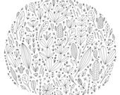 Round Floral Fine Art Print Contemporary Flowers Plants Lovers Patterns Line Drawing BW Black and White Wall Decor