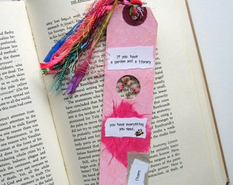 If you have a garden - Earth Bookmark - handmade paper, pressed flower, gypsophila, book lover, reader, librarian, teacher gift, graduation