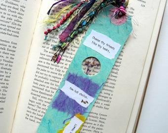 Choose thy friends - Earth Bookmark - handmade paper, pressed flower, gypsophila, book lover, reader, librarian, teacher gift, graduation