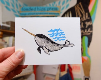 Narwhal hand painted linocut letterpress card
