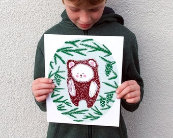 art print Bear in Sitka Spruce