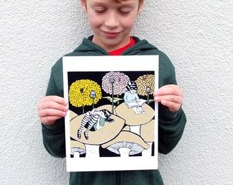 Reading on Toadstools in the Zinnia Garden linocut art print