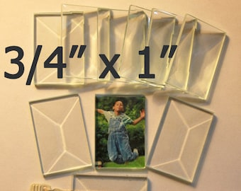 Flat on Both Sides Ornaments Soldered Art 10 Pack Clear Glass Rectangles Magnets 2x3 inch Pendants