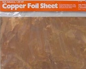 1 SHEET of Real COPPER Foil 12 x 12 inch - Adhesive Backed for making Nuggets or Bubble jewelry pendants. Cut 39 s easily.
