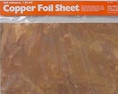 4 Pack of SHEET COPPER FOIL each 12 x 12 inch - Adhesive Backed for making Nuggets or Bubble jewelry pendants. Cut 39 s easily.