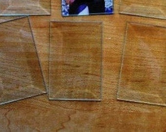 2 pack of 3 x 8 Inch Clear Bevel Memory Glass for Solder Art - Bevel on front and FLAT on back side for Collage picture inside
