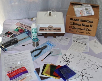 Learn to make STAINED Glass with this simple Beginner KIT ** Expensive GLASTAR Grinder, Iron, Solder, Tools, Instructions, Glass * Plus More
