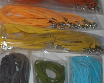18 to 20 inch ((( YELLOW ))) Soft SUEDE Leather Pendant Cord with lobster clasp