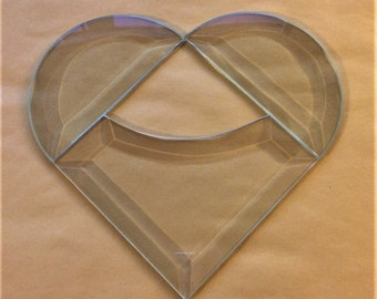 Stained Glass Supplies Bevel SET is a 4 inch Curved Corner Prism Beveled Heart. Simple to Foil and Solder