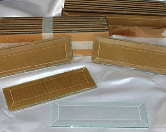 1-1/2 x 10 inch  (4 pack) Clear Glass BEVEL Rectangles FLAT on back side Beveled on top