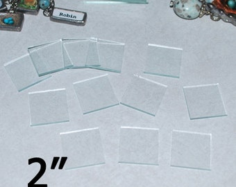 30 Pack of 2 Inch Squares - 2 x 2 inch Clear Pendant Glass - ORNAMENT size