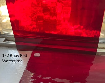 2 pack of 6 x 8 inch Stained Glass Sheets - transparent RUBY RED - Spectrum 152 waterglass