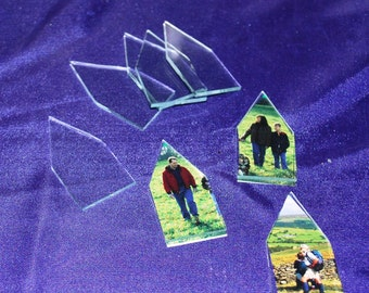 House ((( Brooch Pin Size ))) is 1-1/2 inch x 3 inch tall House Shaped Pendant Glass (4 pack)  FLAT Memory Glass on both sides