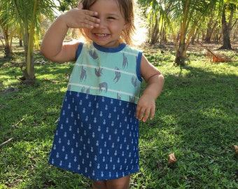 Sloth & pineapple print summer dress