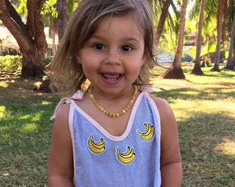 Super lightweight pinestripe cotton banana patch summer jumpsuit