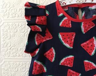 watermelon print cotton baby toddler kids dress Supayana