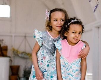 Bunnies & tulips cotton dress toddler girls Supayana SS2018 easter