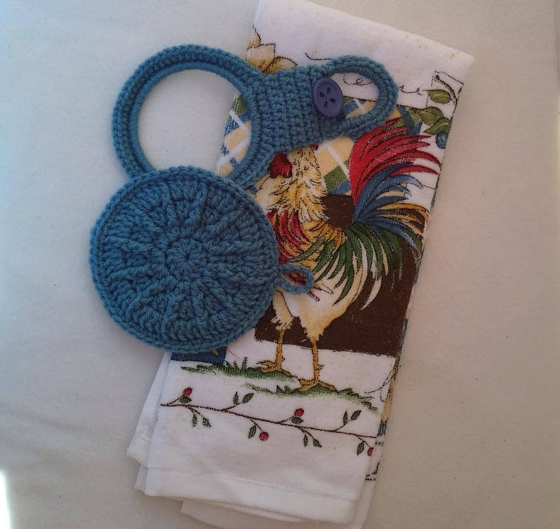 Crochet Kitchen Towel Top And Pinch Pot Lid Blue Set Towel Etsy