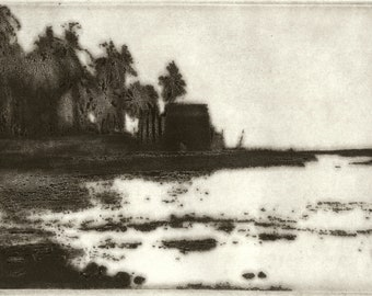 View of Kona limited edition etching of Big Island Hawaii 2018 New!