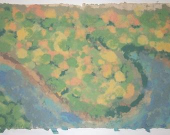Brady's Bend original paper pulp painting