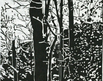 Overnight Snowfall woodcut of Cook Forest, black and white, hand printed