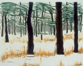 EARLY SNOW original monotype print of Cook Forest