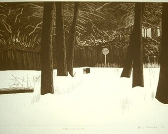 STOPPING BY WOODS etching ltd edition pencil signed
