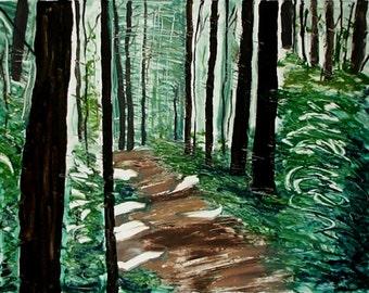 Summer Hike; original hand printed monotype painting print