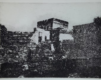 Tulum 10 original etching of Mayan ruins in Mexico