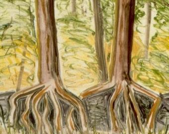 TREE LEGS original hand printed monotype print