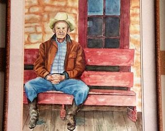 Original Acrylic painting, Old Cowboy sitting on an old bench by Jordanka Yaretz
